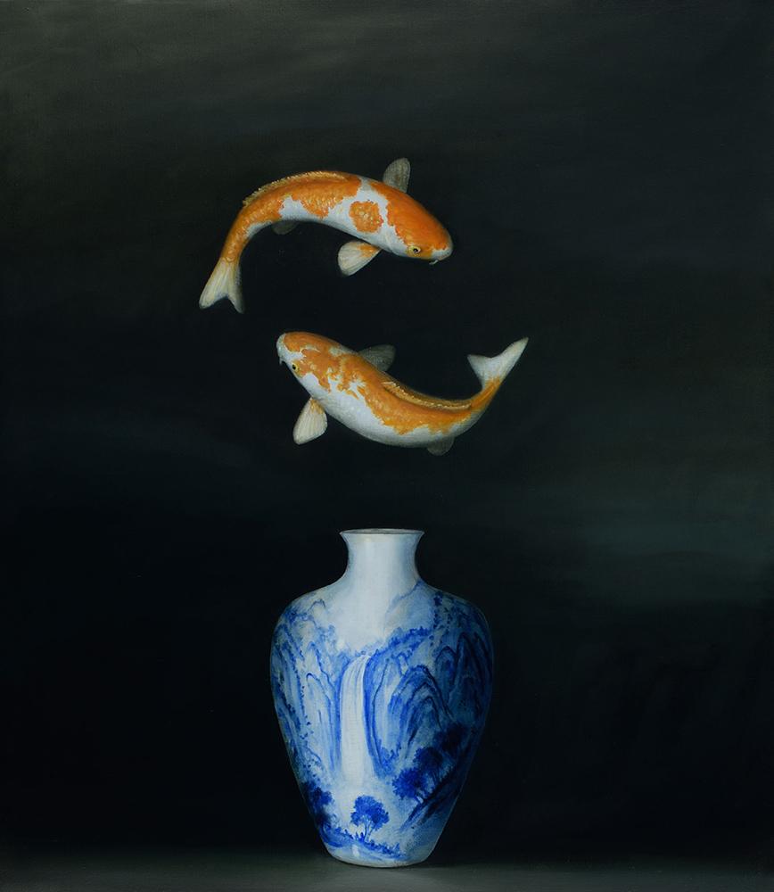 David Kroll - Still Life (Koi and Vase), 2021, oil on linen, 32 x 28 inches