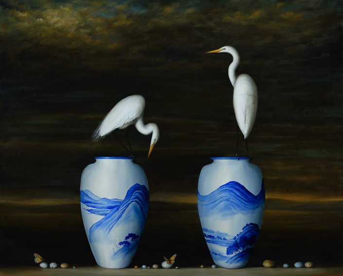 David Kroll - Two Vases and Egrets (SOLD), 2015, oil on linen, 60 by 74 inches