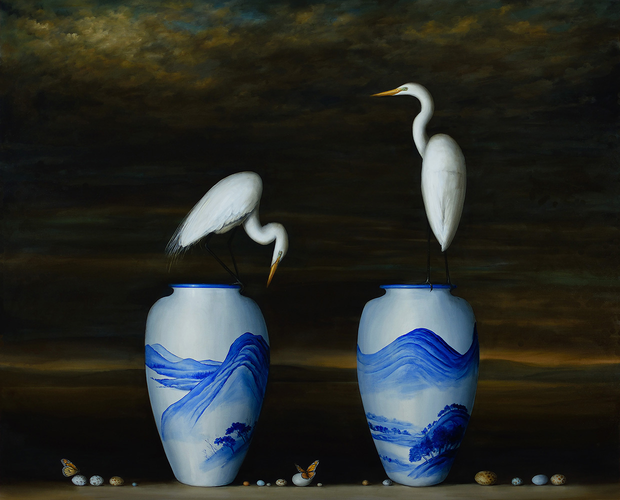 Two Vases and Egrets