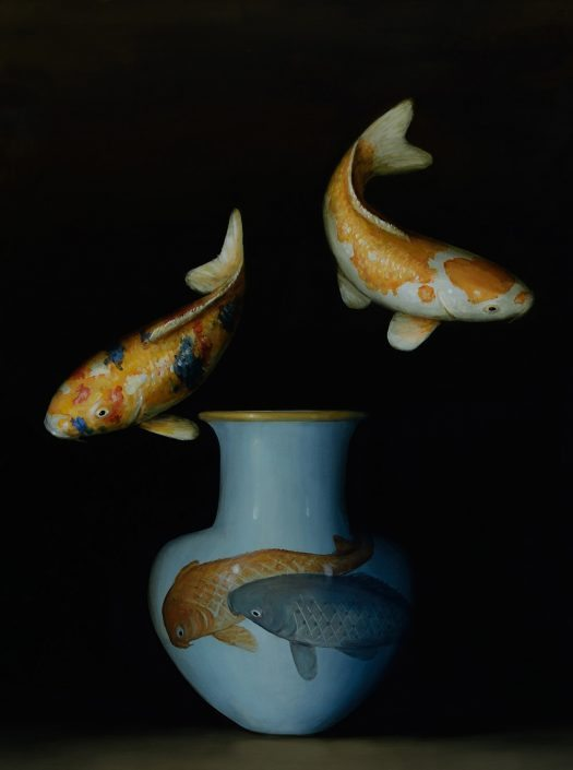 David Kroll - Two Koi (Two Koi), 2017, oil on panel, 24 by 18 inches