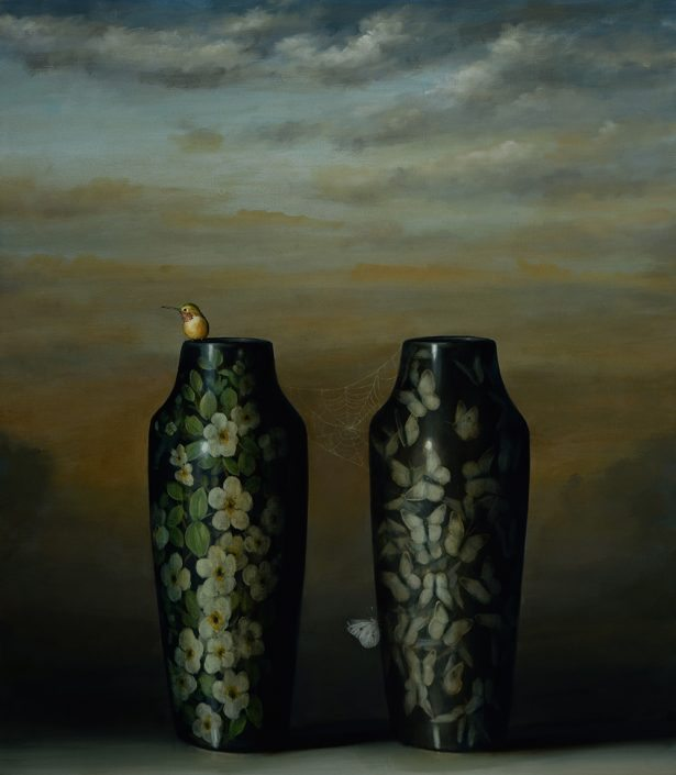 David Kroll - Two Vases with Hummingbird (SOLD), 2017, oil on linen, 28 by 32 inches