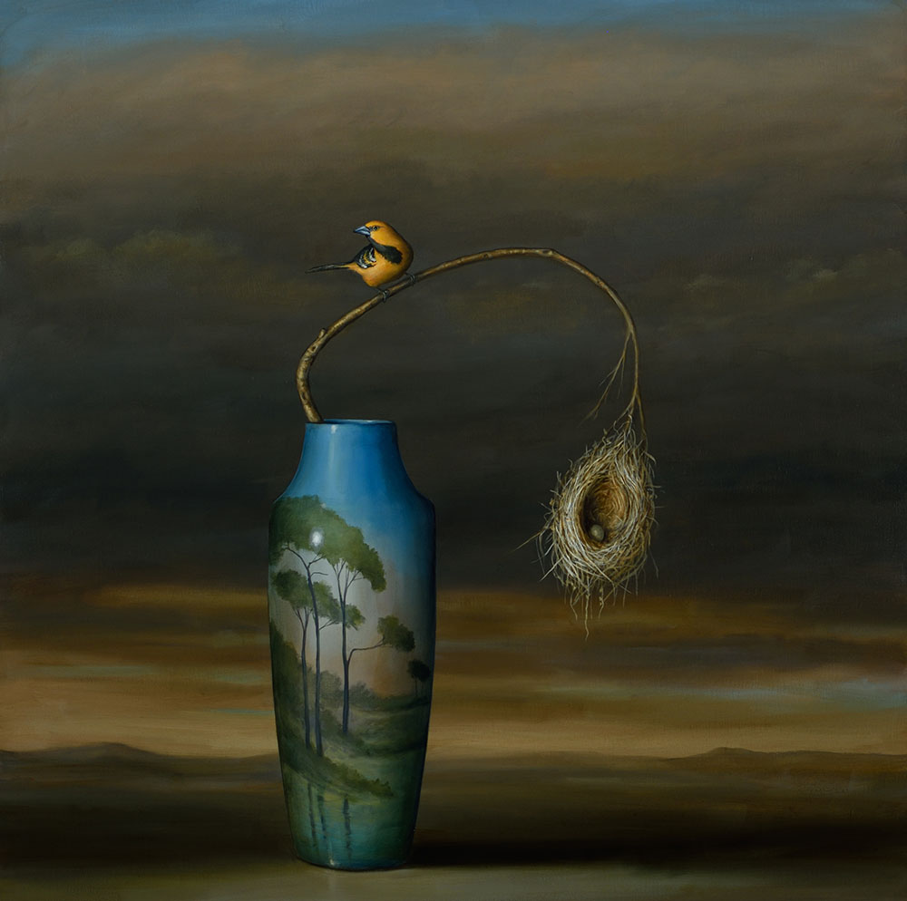 David Kroll - Vase and Nest (SOLD), 2017, oil on linen, 40 by 40 inches