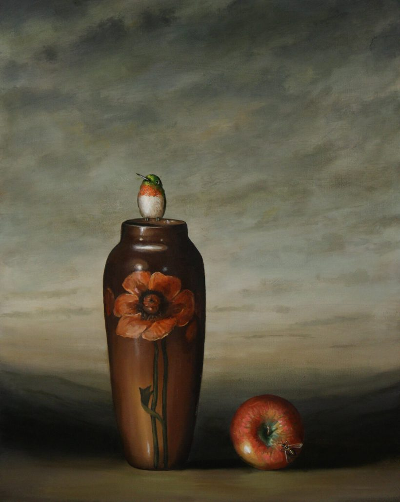 David Kroll - Vase and Apple (SOLD), 2009, oil on linen, 20 by 16 inches