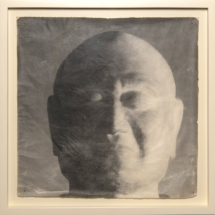 Mike & Doug Starn - Ganjin Head, 2000-2003, tea stained sulfur toned silver print on Thai mulberry paper, 34 by 34 inches framed