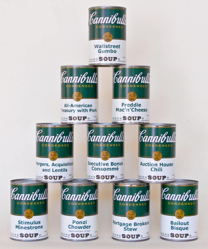 Enrique Chagoya - Pyramid Scheme, 2009, archival pigment print on ten cans with silkscreened box, variable, box size 4.75 by 16.25 by 6.5 inches, edition of 40