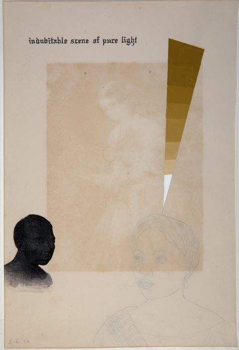 Enrique Chagoya - Ghostly Meditations (indubitable scene of pure light), 2010, acrylic and India ink on de-acidified 19th century paper (facing pages of etchings from a 19th century book), 18.75 by 13.75 inches