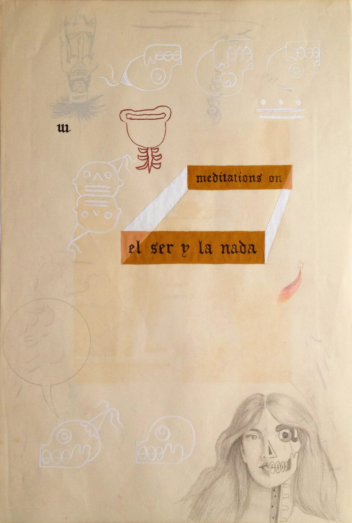 Enrique Chagoya - Ghostly Meditations (meditations on el ser y la nada), 2012, acrylic and India ink on de-acidified 19th century paper (facing pages of etchings from a 19th century book), 18.75 by 13.75 inches