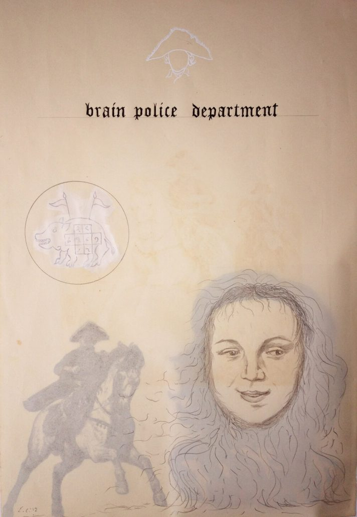 Enrique Chagoya - Ghostly Meditations (brain police department), 2012, acrylic and India ink on de-acidified 19th century paper (facing pages of etchings from a 19th century book), 18.75 by 13.75 inches