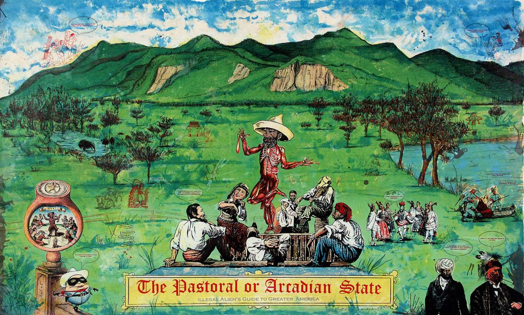 Enrique Chagoya - The Pastoral or Arcadian State, Illegal Alien's Guide to Greater America, 2006, color lithograph, 24 by 39 inches