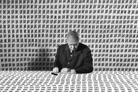 Gilbert Garcin - 168 - Le compte exact (The exact count), 2001, gelatin silver print, 8 by 12 inches, 12 by 16 inches, or 20 by 24 inches