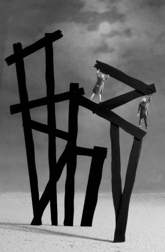 Gilbert Garcin - 269 - La Tour de Babel (d'après Franz Kline) (The Tower of Babel (after Franz Kline)), 2004, gelatin silver print, 12 by 8 inches, 16 by 12 inches, or 24 x 20 inches