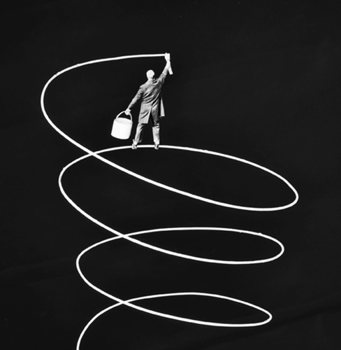 Gilbert Garcin - 439 - Upward, 2012, gelatin silver print,8 by 12 inches, 12 by 16 inches, or 20 by 24 inches