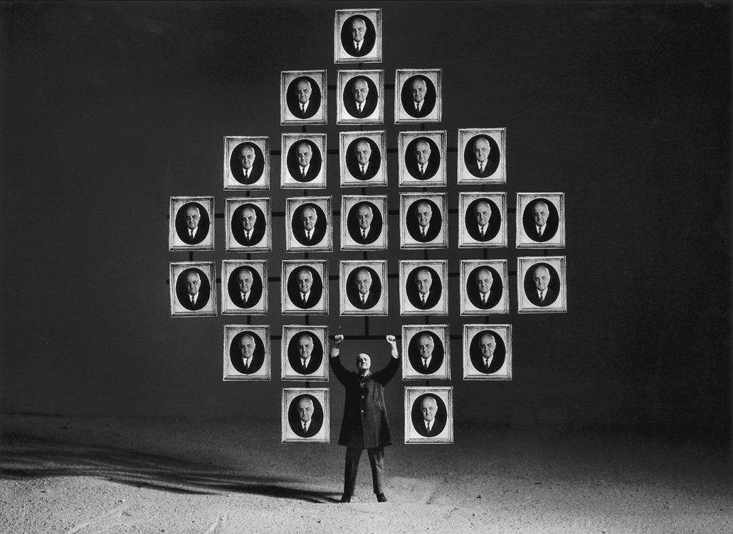 Gilbert Garcin - 53 - Le paon (The peacock), 1997, gelatin silver print, 12 by 8 inches, 16 by 12 inches, or 24 by 20 inches