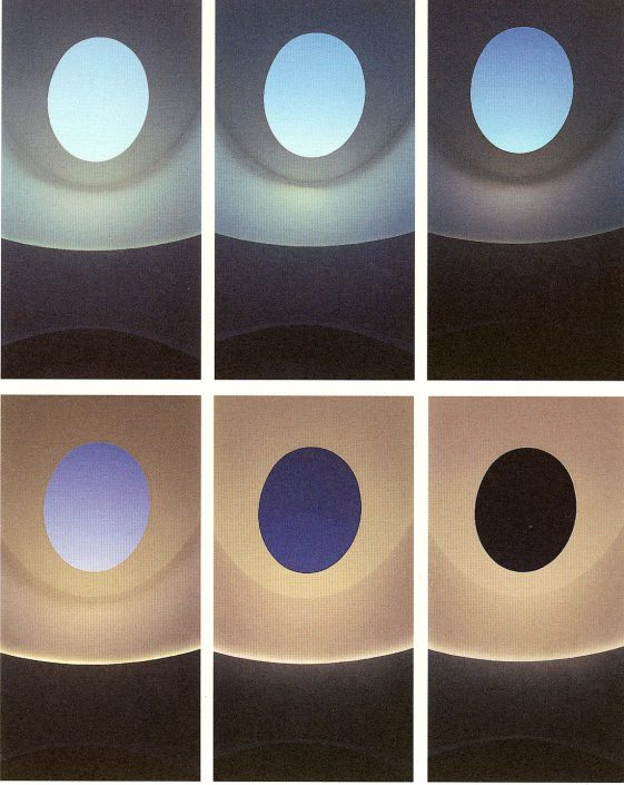 James Turrell - Knight Rise, changing light sequence into sunset, 2001, Scottsdale Museum of Contemporary Art, Scottsdale, Arizona