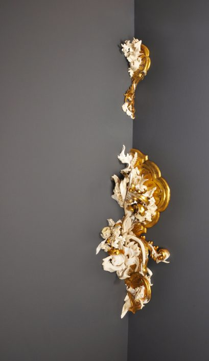 Jennifer Trask - Effloresce (SOLD), 2013, bone, antler, teeth, gesso, quartz, found 18th and 19th century wall sconces, 57 inches tall
