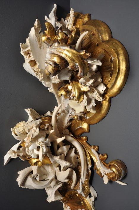 Jennifer Trask - Effloresce (detail) (SOLD), 2013, bone, antler, teeth, gesso, quartz, found 18th and 19th century wall sconces, 57 inches tall