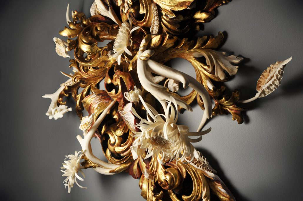 Jennifer Trask - Thrive (detail), 2014, found 18th and 20th century frames, gold leaf, bone (deer, cow, python), antlers, fossilized wood, gesso, 23k gold leaf, resin, 46 by 38 by 11 inches