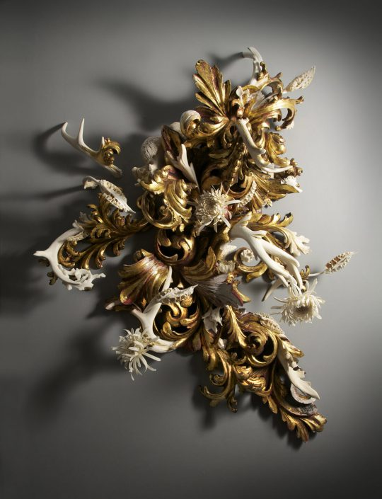 Jennifer Trask - Thrive, 2014, found 18th and 20th century frames, gold leaf, bone (deer, cow, python), antlers, fossilized wood, gesso, 23k gold leaf, resin, 46 by 38 by 11 inches