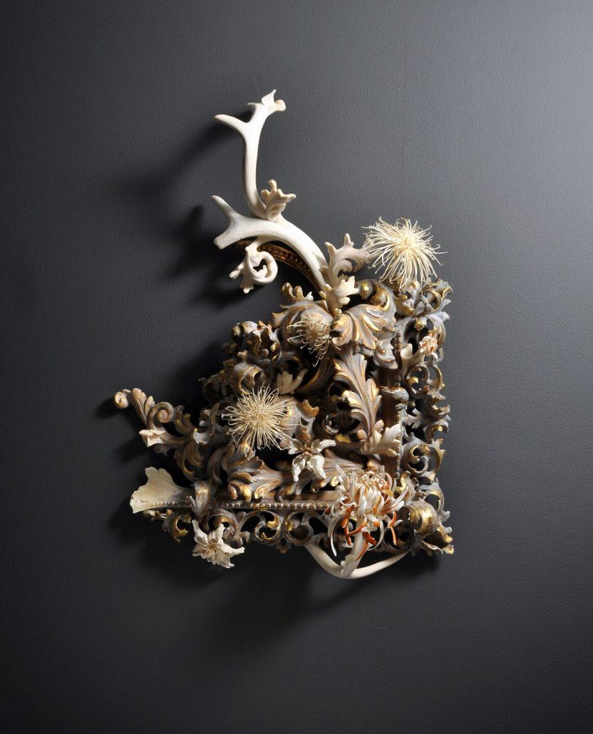 Jennifer Trask - Undergrowth, 2012, found frame fragments (from 4 pieces), 18th and 19th century, painted gilt, carved antler, bones and teeth (various), 25 by 20 by 8 inches