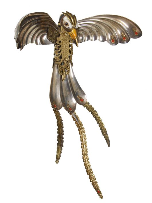 Jessica Joslin - Cadmus, 2017, antique hardware and findings, brass, silver, bone, glove leather, glass eyes, 20 by 12 by 8 inches