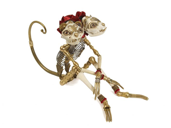 Jessica Joslin - Dante and Diego, 2014, antique hardware and findings, brass, bone, satin, silver, velvet, glove leather, glass eyes, 9 by 7 by 14 inches