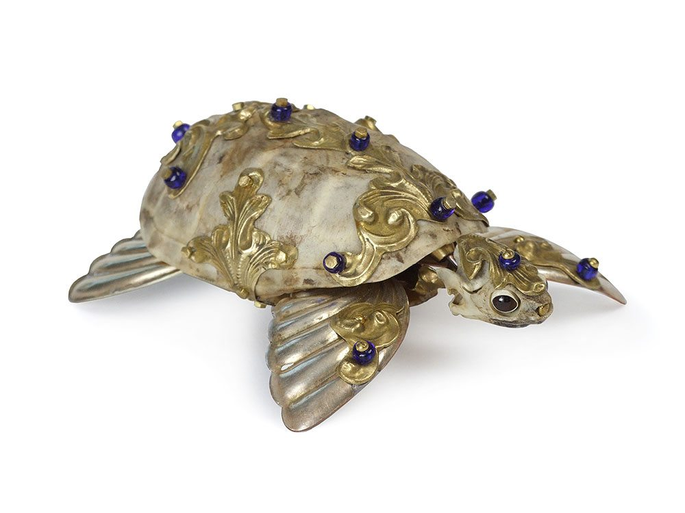 Jessica Joslin - Flash (SOLD), 2017, antique hardware and findings, brass, bone, turtle shell, glove leather, glass eyes, 1.5 by 3 by 4 inches