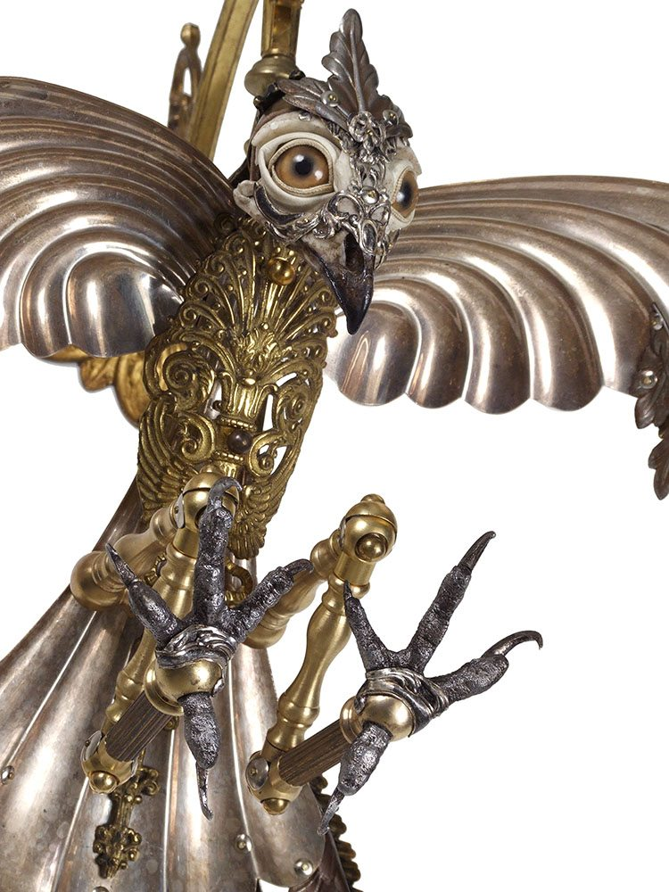 Jessica Joslin - Garbo (detail), 2017, antique hardware and findings, brass, silver, steel, cast plastic, cast pewter, glove leather, glass eyes, 18 by 20 by 12 inches