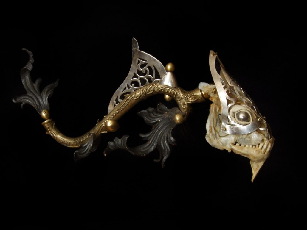 Jessica Joslin - Orlando, 2013, antique hardware and findings, brass, steel, glove leather, glass eyes, 6 by 12 by 6 inches