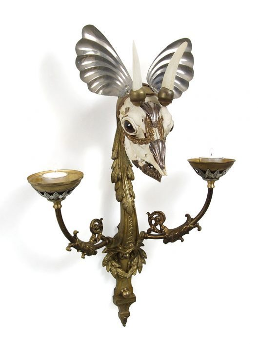 Jessica Joslin - Lancelot, 2017, antique hardware and findings, brass, bone, glove leather, glass eyes, tea candles, 16 by 20 by 10 inches