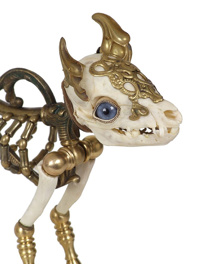 Jessica Joslin - Max (detail), 2017, antique hardware and findings, brass, bone, painted steel, glove leather, glass eyes, 14 by 8 by 8 inches