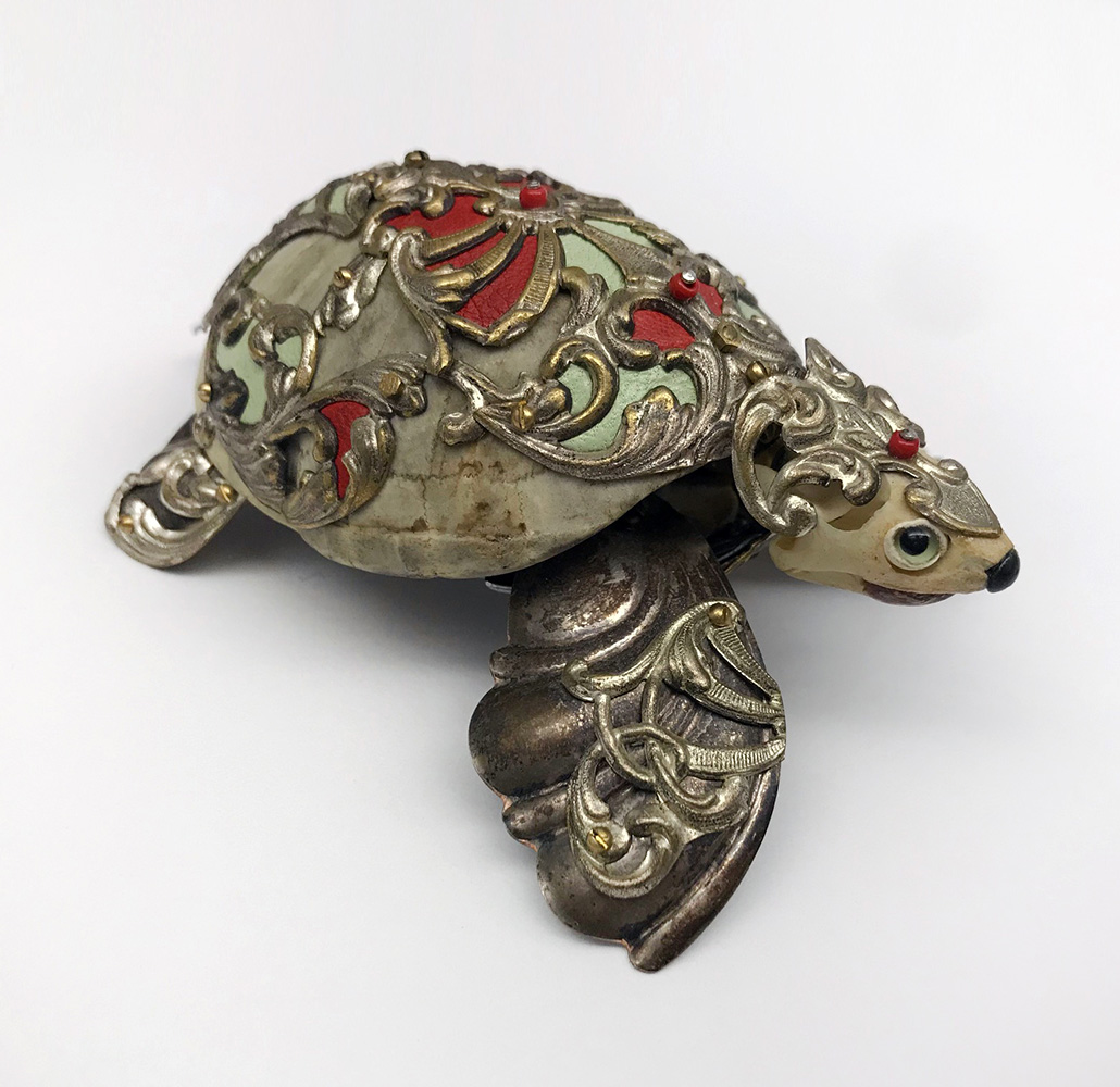 Jessica Joslin - Percival, 2018, antique hardware and findings, bone, turtle shell, glove leather, glass eyes, 4.5 by 3 by 1.75 inches