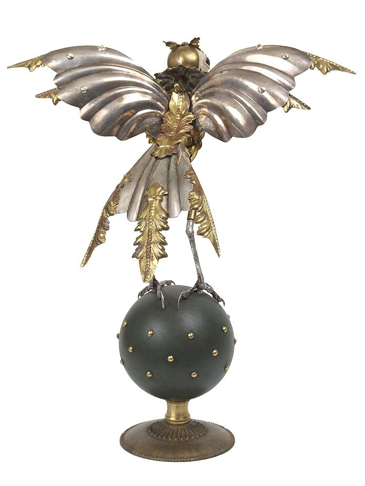 Jessica Joslin - Skylar, 2017, antique hardware and findings, brass, silver, cast plastic, glove leather, glass eyes, 10.5 by 9 by 7.5 inches