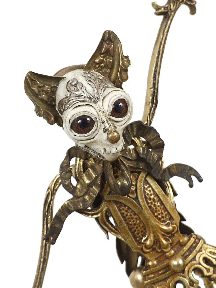 Jessica Joslin - Teddy (detail) (SOLD), 2017, antique hardware and findings, brass, bone, cast plastic, glove leather, glass eyes, 21 by 10 by 8 inches
