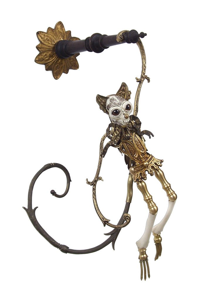 Jessica Joslin - Teddy (SOLD), 2017, antique hardware and findings, brass, bone, cast plastic, glove leather, glass eyes, 21 by 10 by 8 inches