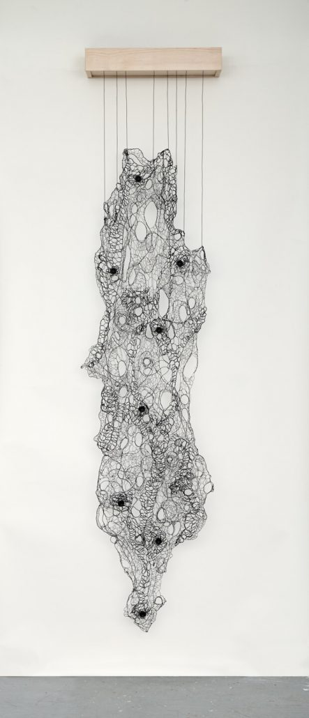 Julianne Swartz - Lace Skin Tear, 2014, electrical wire, speakers, wood, electronics, 4-channel soundtrack, 98 by 24 by 8 inches