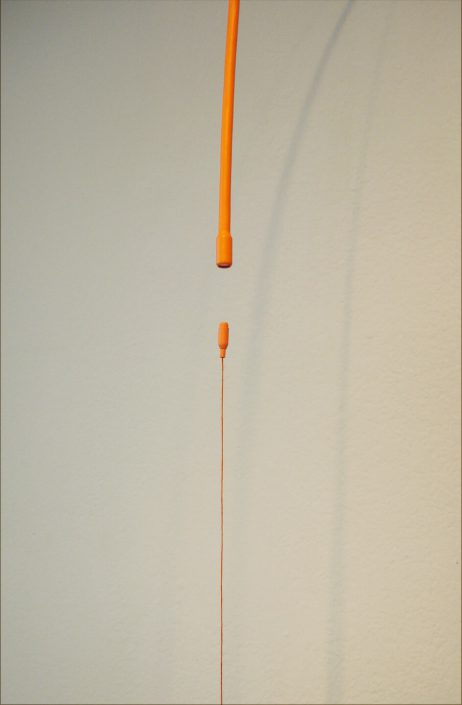 Julianne Swartz - Long Orange Embrace (detail), 2006, magnets, thread, plastic, hardware, 70 by 15 inches