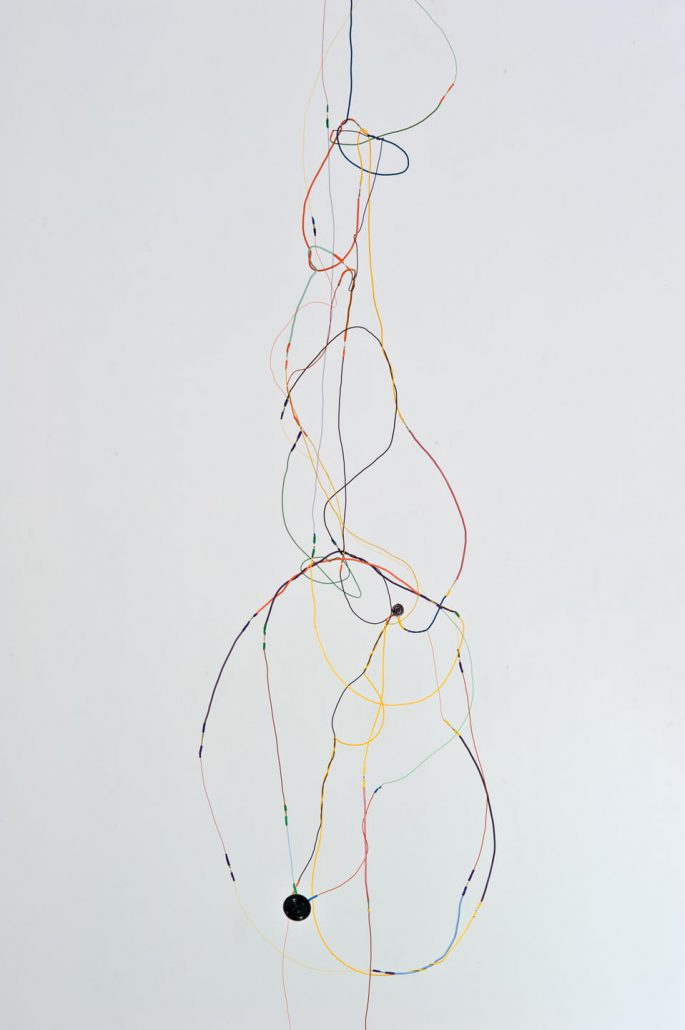 Julianne Swartz - Sound Drawing (Vertical Fall) (detail), 2013, wire, speakers, electronics, 2-channel original soundtrack, 108 by 18 by 24 inches
