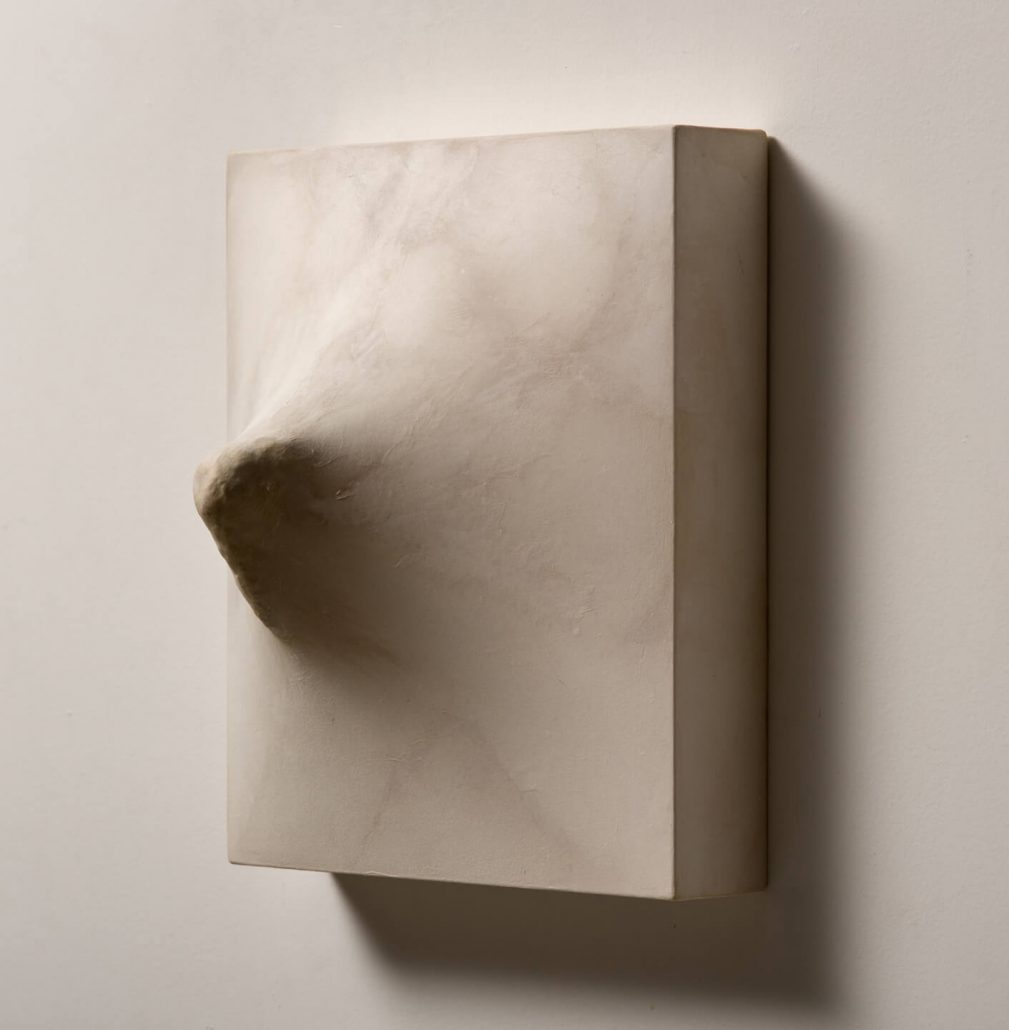 Julianne Swartz - Stretch Drawing (Thick Jut), 2013, wood, rocks, paper, 12 by 10 by 6.5 inches