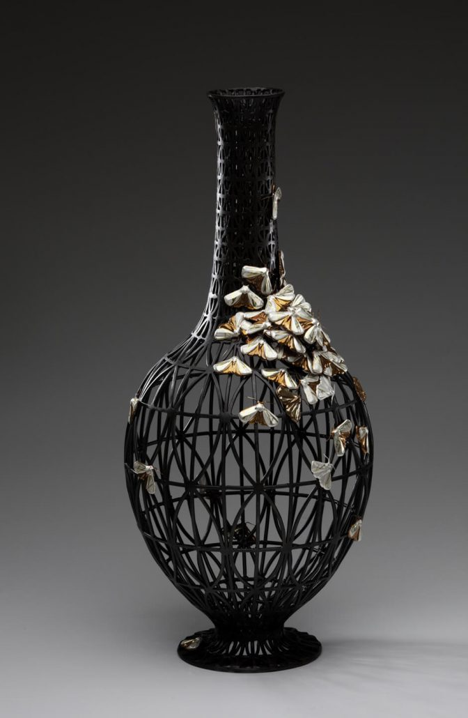 Kim Cridler - Field Study #2 (SOLD), 2010, steel, copper, silver, gold, 28 by 12.5 by 12.5 inches