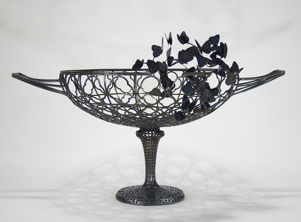Kim Cridler - Basin with Butterflies (SOLD), 2018, steel, butterflies (Dichorragia nesmachus), 15 by 28 by 18 inches