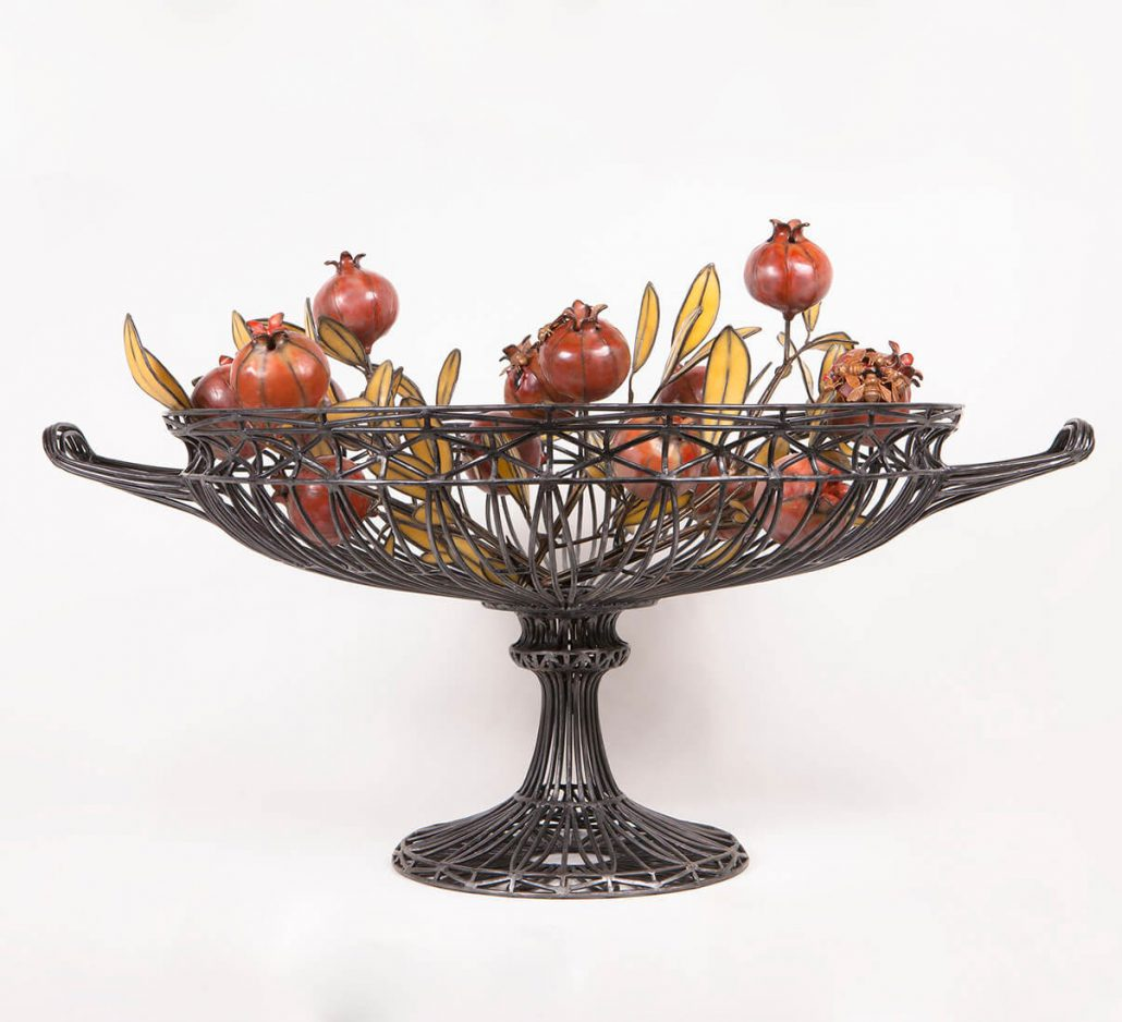 Kim Cridler - Basin with Pomegranates (SOLD), 2016, steel, bronze, bees wax, garnets, 24 by 36 by 29 inches