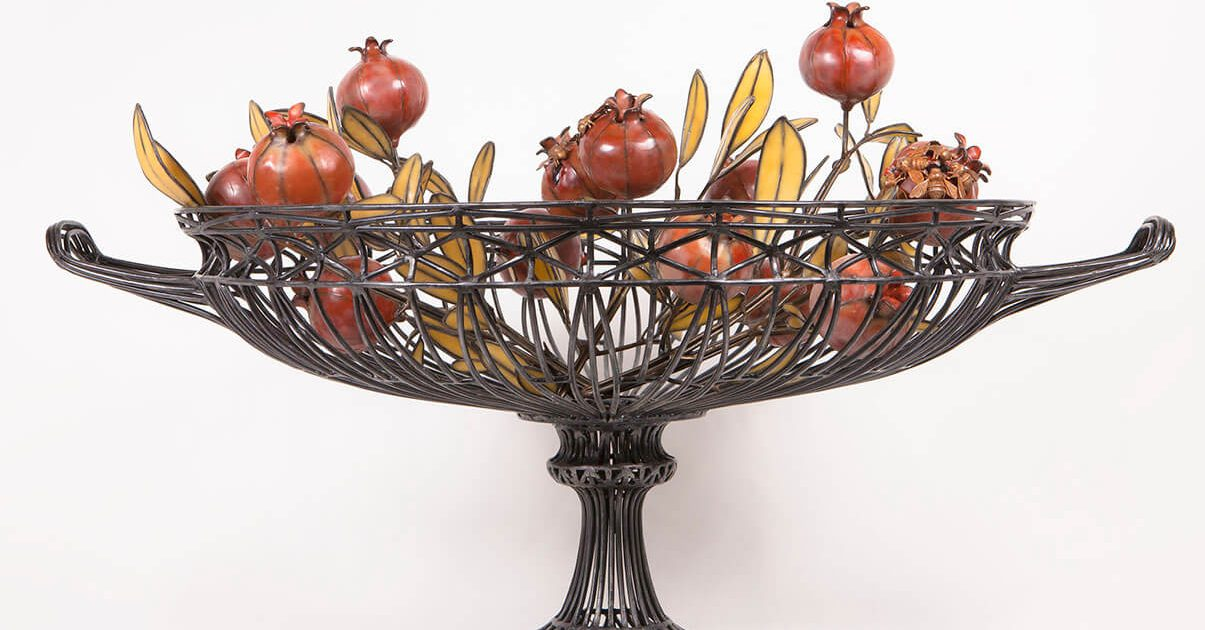 Kim Cridler - Basin with Pomegranates, 2016, steel, bronze, bees wax, garnets, 24 by 36 by 29 inches