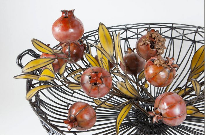 Kim Cridler - Basin with Pomegranates (detail) (SOLD), 2016, steel, bronze, bees wax, garnets, 24 by 36 by 29 inches