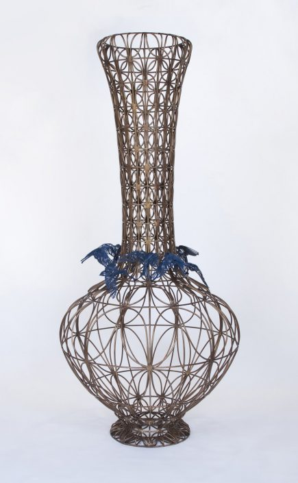 Kim Cridler - Bottle with Blue Birds, 2014, bronze, steel, 72 by 33 by 33 inches