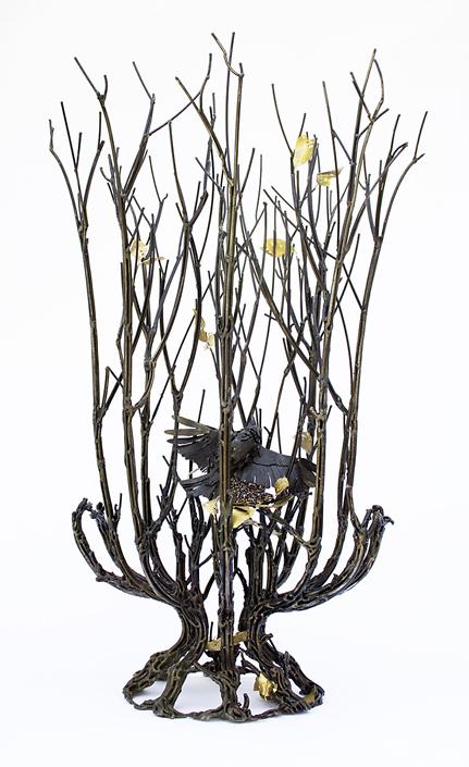 Kim Cridler - Clearing (SOLD), 2020, steel, garnet, brass, 28 x 16 x 16 inches
