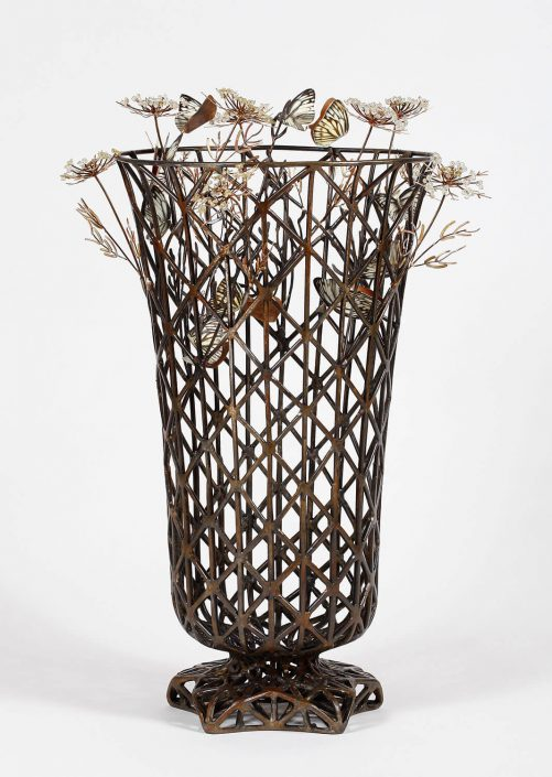 Kim Cridler - Field Vase (SOLD), 2016, steel, lemon quartz, bronze, brass, silver, butterfly wings, bees wax, 18.5 by 13 by 13 inches