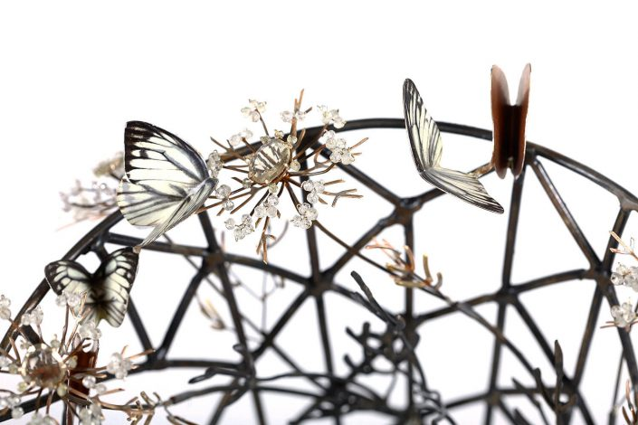 Kim Cridler - Field Vase (detail) (SOLD), 2016, steel, lemon quartz, bronze, brass, silver, butterfly wings, bees wax, 18.5 by 13 by 13 inches