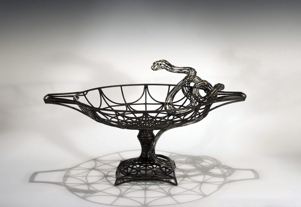 Kim Cridler - Field Study #17 (SOLD), 2012, steel, silver, onyx, bronze, 13 by 21 by 15 inches
