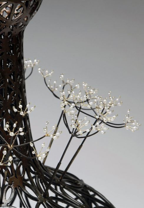 Kim Cridler - Field Study 21: Seed Head (detail) (SOLD), 2012, steel, bronze, fresh water pearl, 13.75 by 10 by 10 inches