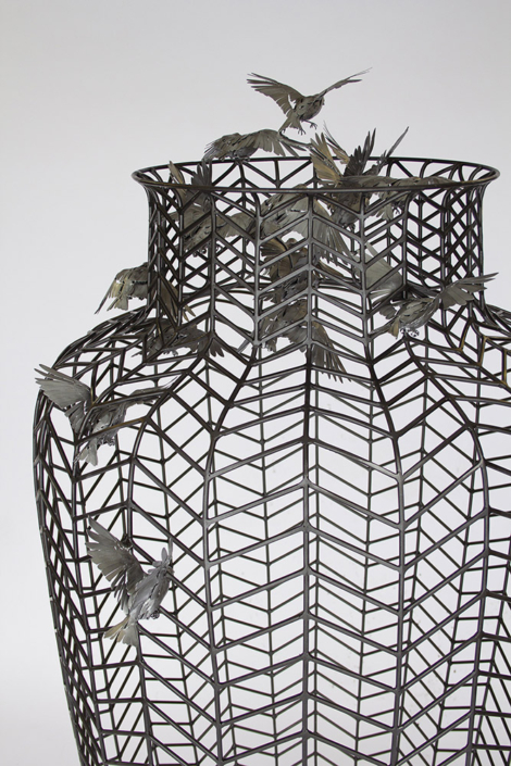 Kim Cridler - Holding 2 (detail), 2021, steel, ecoat, paint, 74 x 35 x 32 inches